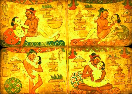 Sebuah gambar jenis kamasutra dalam naskah kuno, print 1983/Ilustrasi Nusantaranews via gossip katta