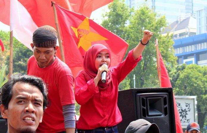 Ketua Umum Eksekutif Nasional Liga Mahasiswa Nasional untuk Demokrasi (EN-LMND) Vivin Sri Wahyuni/Foto: dok. berdikarionline.com