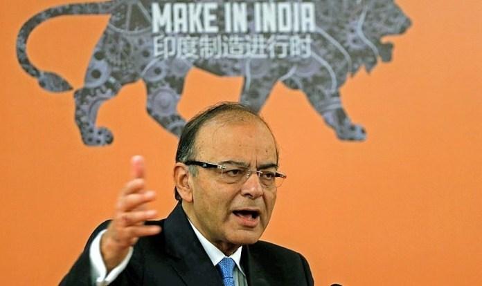 Menteri Keuangan India Arun Jaitley saat memberikan sambutan dalam forum
