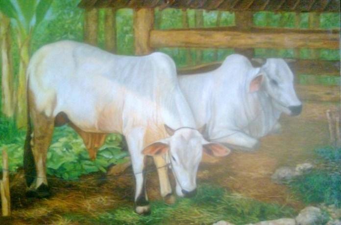 Lukisan Sapi di depan kandang, karya Wiyoto/Foto: Dok. sriyadiantik.blogspot.co.id