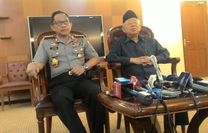 Kapolri Jenderal Polisi Tito Karnavian menggelar pertemuan dengan Ketua Majelis Ulama Indonesia(MUI) Maruf Amin. Foto Andika/Nusantaranews
