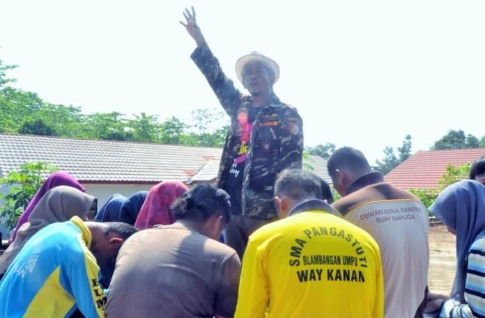 Ketua PC GP Ansor Waykanan Gatot Arifianto memotivasi peserta BPUN Dok GP Ansor Waykanan/Foto Aswaja/ NUSANTARAnews