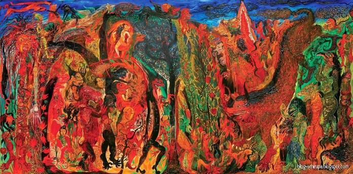 Mitos dan Legenda Alas Pasetran Gondo Mayit by Nasirun, 200cm x 400cm , oil on canvas, 2002/Foto: Dok. blog-senirupa.blogspot.com