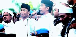 Presiden Jokowi saat memberikan sambutan pada Aksi Super Damai 212/Foto Istimewa (@setkabgoid)