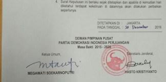 Surat Pemecatan Bupati Klaten, Sri Hartini (Dok. Sekjen PDIP, Hasto Kristiyanto)