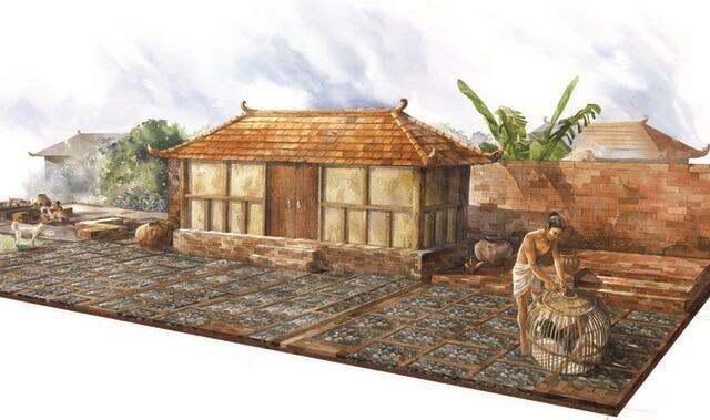 Foto ilustrasi di balik rekonstruksi rumah majapahit. Foto via Nationalgeographic