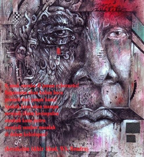 "Latar Ilustrasi: Lukisan ""Cybernetic Identity Transformation"", mixed media on paper, karya Rai Cruz/Foto: raicruz.com"