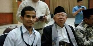 Sekretaris PP Pemuda Muhammadiyah, Pedri Kasman (KIRI) saat bersama KH Ma'ruf Amin di sela-sela persidangan kasus penistaan agama, Selasa (31/1/2017) lalu./Foto: Dok. edunews.id