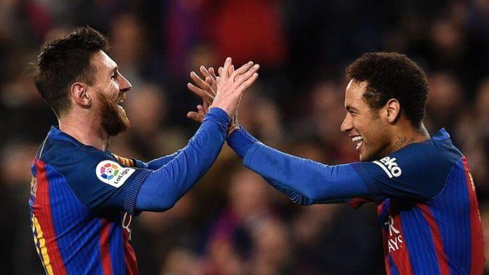 Neymar dan Messi Merayakan Gol Kedua Barca/Foto via 365dm