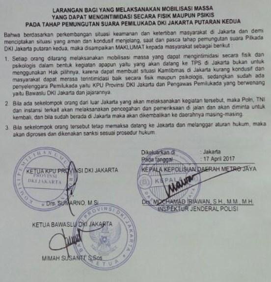 Maklumat Polda Metro Jaya/Foto Istimewa/Nusantaranews