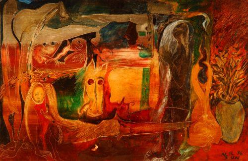 Nasirun - 1996 - Miniatur Konflik (90x60) Oil Paint on Canvas. Foto: Dokumentasi Edwin's Gallery/ archive.ivaa-online.org