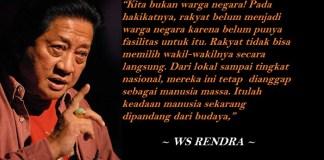 """Penyair WS Rendra membacakan karyanya dalam acara peluncuran buku """"Nasionalisme dan Kebangkitan Ekonomi"""" karya Ketua Umum DPP Pemuda Tani Indonesia Soepriyatno di Taman Ismail Marzuki, Jakarta, Kamis (22/5). Ilustrasi: NUSANTARANEWS.CO"""