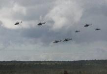 Helikopter di latihan militer gabungan Rusia-Belarusia (Zapad-2017). (Foto: Konstantin Alysh / Russian Defense Ministry)