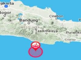 Lokasi gempa bumi di Tasikmalaya, Jawa Barat pada Senin (25/9) pagi. (Foto: Dok. BMKG/Istimewa)