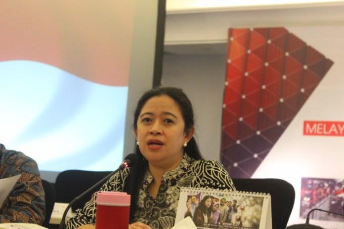 Menko PMP Puan Maharani saat Konferensi pers usai rapat koordinasi tingkat menteri di Kemenko PMK, Jakarta Pusat, Kamis (1492017). Foto Rivhard Andika/ NusantaraNews.co