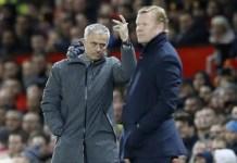 Manajer Manchester United Jose Mourinho dan manajer Everton Ronald Koeman. (Foto: AP)