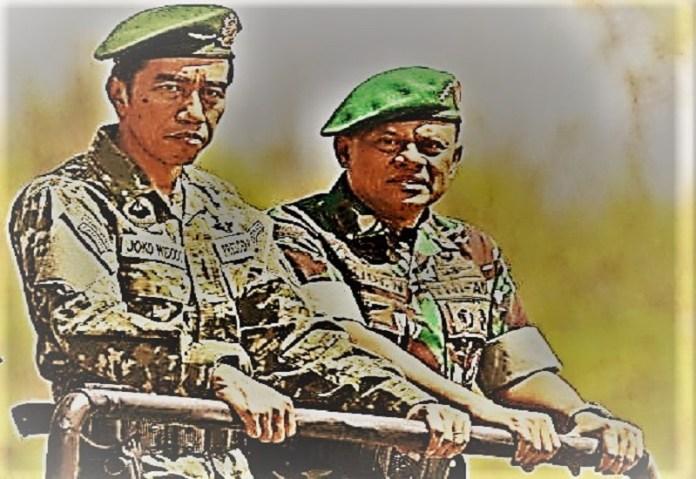 Presiden RI Joko Widodo didampingi Panglima TNI Jenderal Gatot Nurmanto. (Foto: Dok. Antara/Edit)