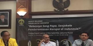 Diskusi publik bertajuk 'Bebasnya Sang Papa, Senjakala Pemberantasan Korupsi di Indonesia' di FHUI, Salemba, Jakarta Pusat, Kamis, (5/10/2017). (Foto: Restu Fadilah/NusantaraNews)
