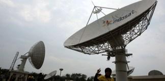 Satelit Indosat di Kantor PT Indosat Jl Daan Mogot KM 11, Jakarta Barat. Foto: MI/Rommy Pujianto