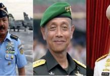 Staf Angkatan Udara (KASAU) Marsekal TNI Hadi Tjahjanto, Kepala Staf Angkatan Darat (KASAD) Jenderal TNI Mulyono, dan Kepala Staf Angkatan Laut (KASAL) Laksamana TNI Ade Supandi. Foto: Istimewa/NUSANTARANEWS