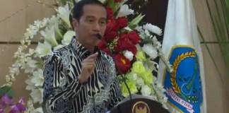 Presiden Jokowi saat Pidato di pembukaan Kongres XX GMNI. Foto: Crop by Youtube/ NusantaraNews