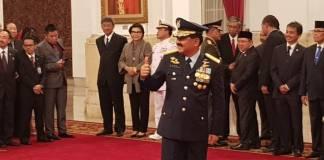 Marsekal Hadi Tjahjanto saat dilantik menjadi Panglima TNI di Istana Negara pada Jumat (8/12). Foto: Istimewa