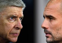 Pelatih Arsenal Arsene Wenger dan Pelatih Man City Pep Guardiola (Foto The Sun)