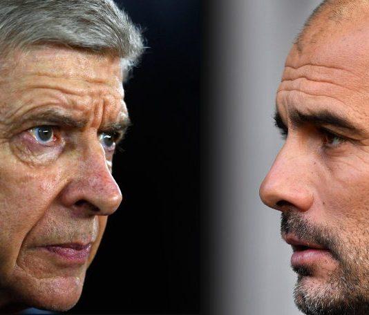 Pelatih Arsenal Arsene Wenger dan Pelatih Man City Pep Guardiola (Foto The Sun)