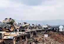 Pasukan Turki berkumpul di perbatasan Afrin pada Januari lalu. (Foto: Bulent Kilic/AFP)