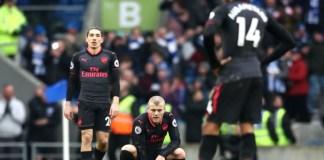 Arsenal menelan kekalahan keempatnya secara beruntun di semua kompetisi. Kali ini dikalahkan Brighton & Hove Albion. (Foto: Squawka)