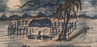 Moonlit Village Night in Sketching by Ushashi Sengupta
