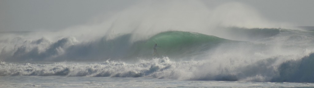 Stand-up barrel at Impossibles, Bali. Muzzaswell