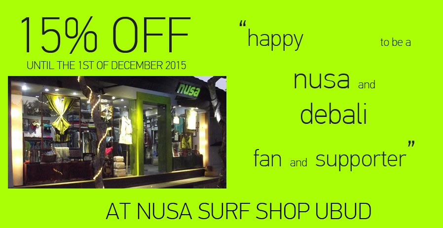 15% Percent off at Nusa Surf Shop in Ubud