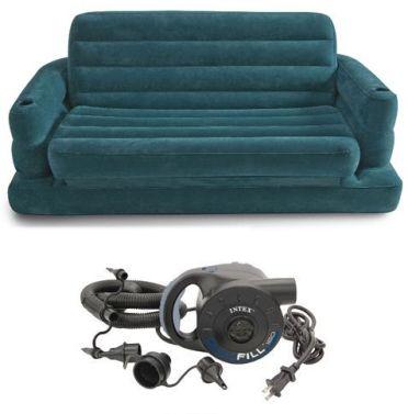 نتكس 68566 صوفا نفرين قابلة للنفخ تتحول لسرير مع منفاخ كهربائي سريع 220 فولت