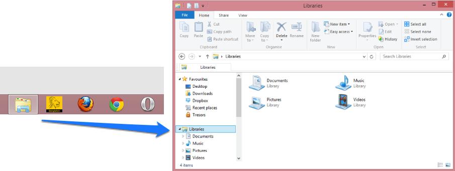 Taskbar file explorer opens in library folder