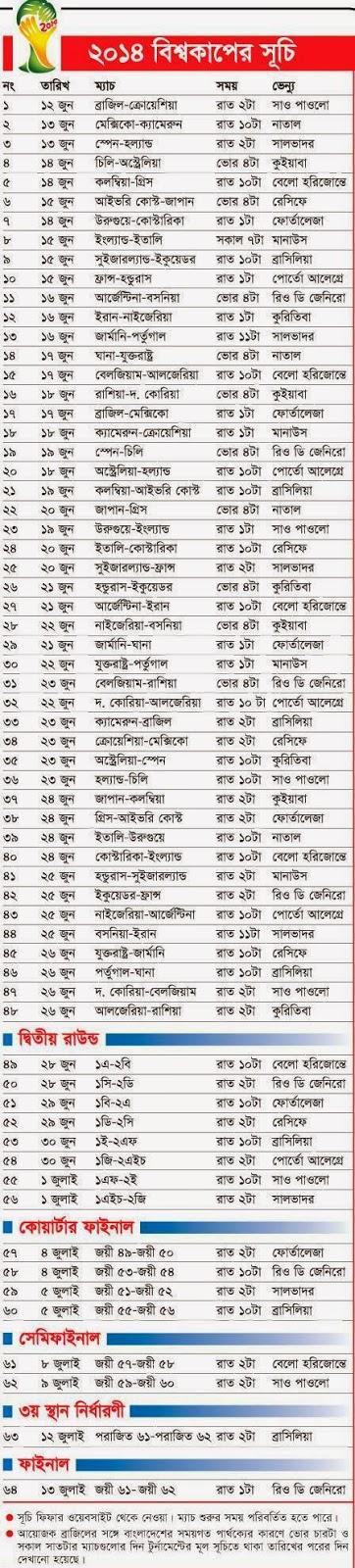 FIFA 2014 World Cup Fixtures bangladesh bd bangla nutboltu