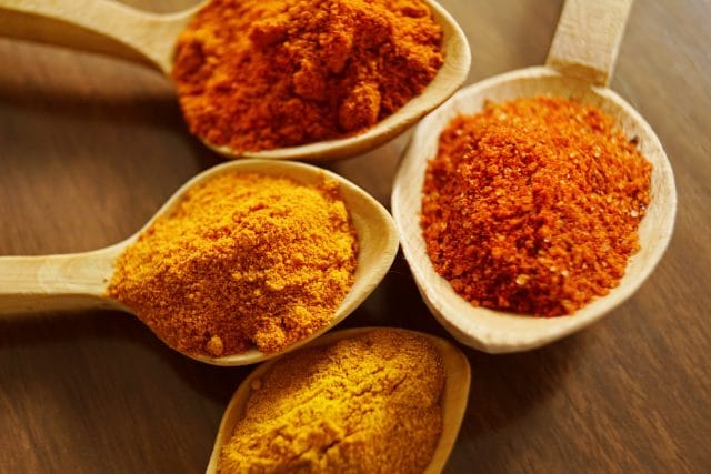various spices including turmeric