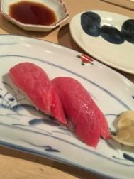 Two pieces of chutoro (medium fatty tuna) from Hatsuhana