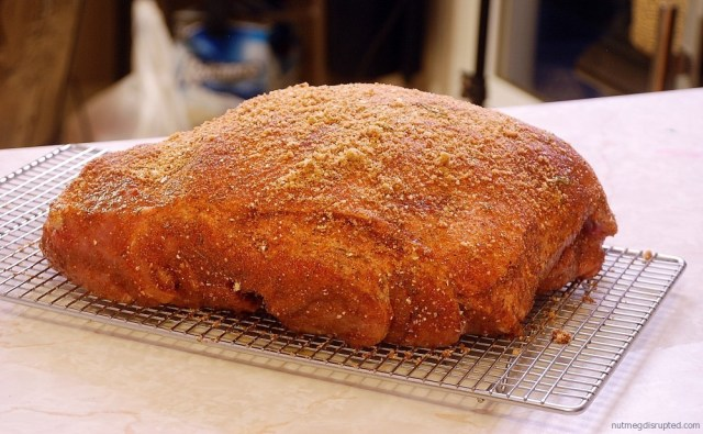 A pork butt ready to go into the smoker or 16 hours on Nutmeg Disrupted