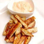 Oven Baked Fries with Spicy Chipotle Mayo.