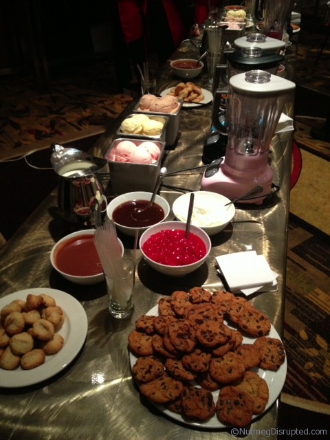The kitchen aid milkshake bar at the Food Bloggers of Canada welcome dinner.