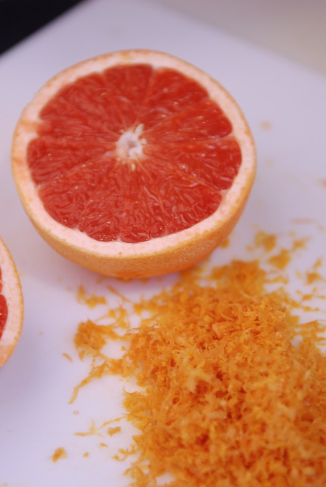 Zesting grapefruit for curd on Nutmeg Disrupted