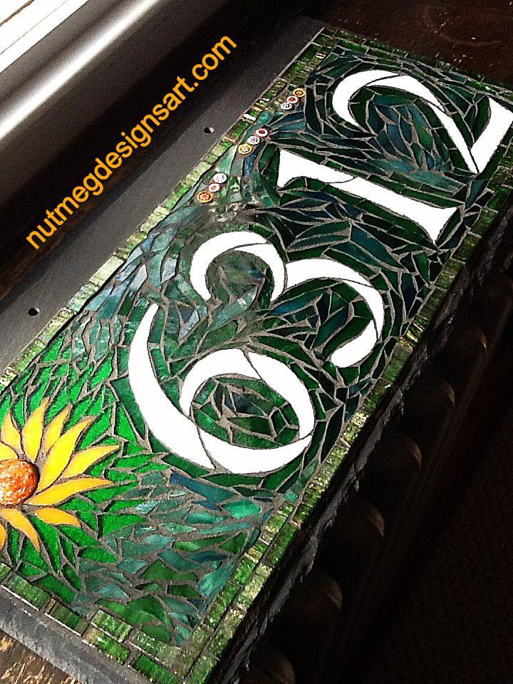 Wordless Wednesday Mosaic House Number In Green With The Sun