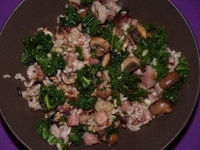 Recette de chou kale, champignons
