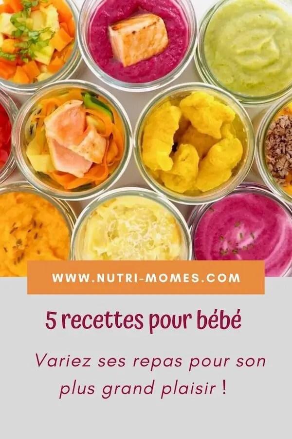 Recettes de repas pour bébé