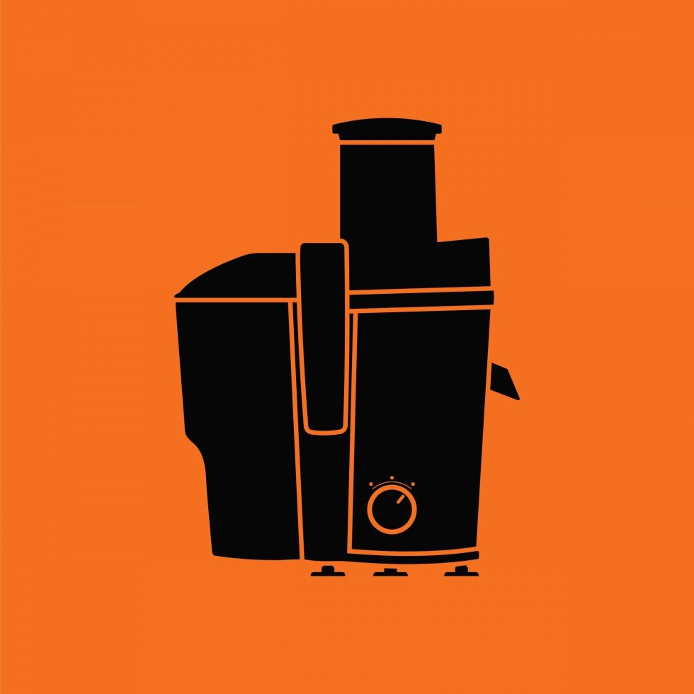 Juicer icon with orange background and black