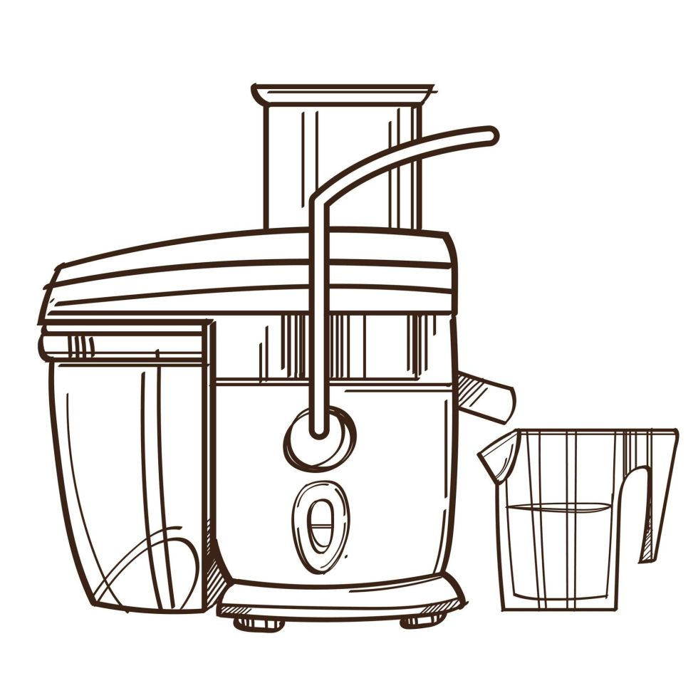 Black and white centrifugal juicer sketch