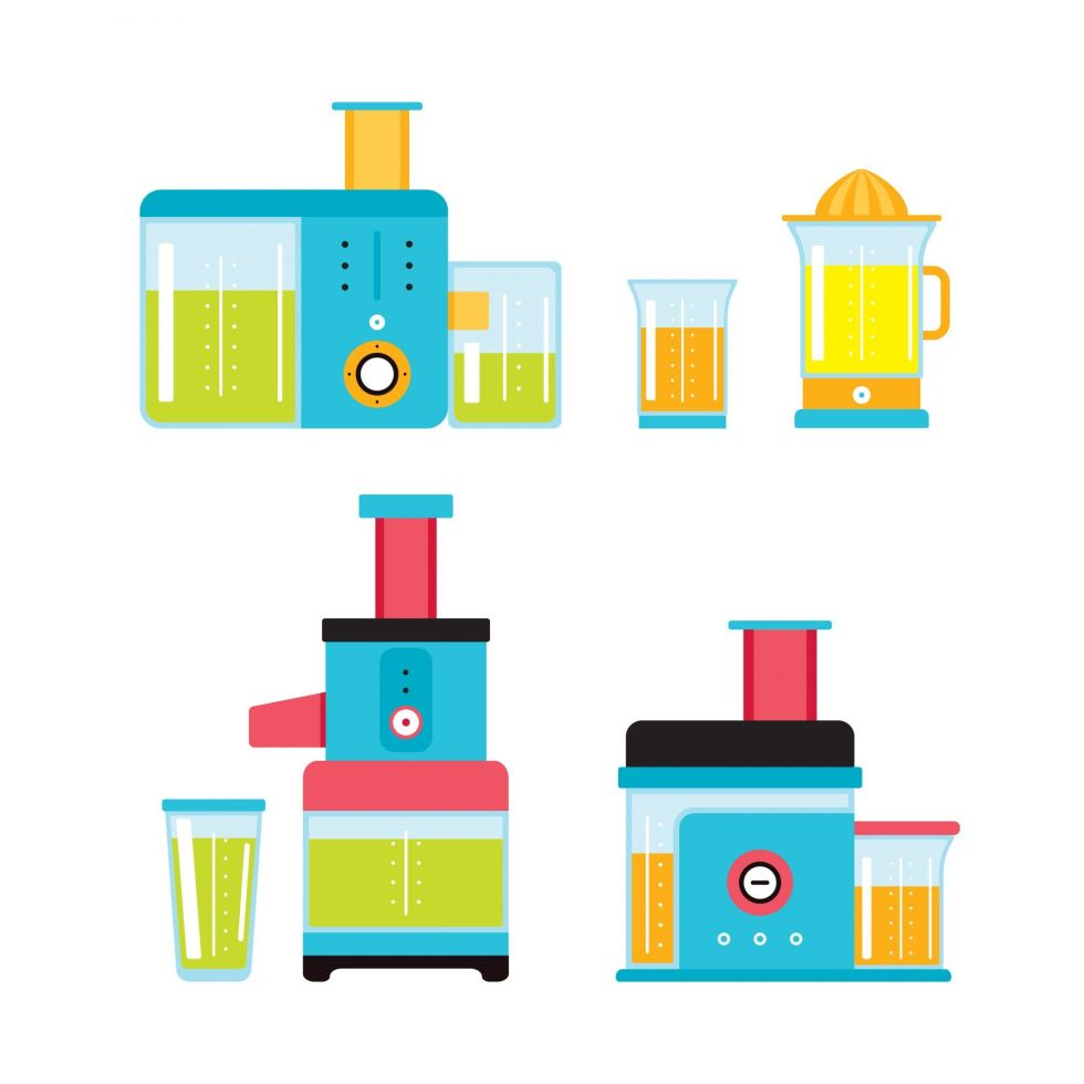 Different types of juicers illustration