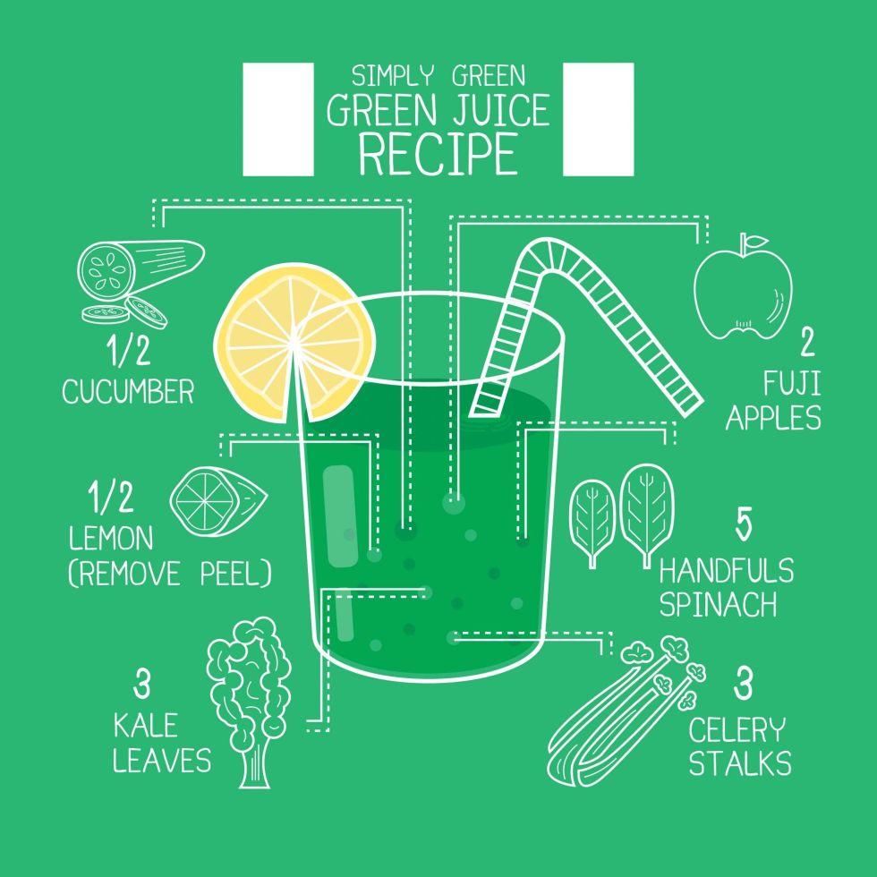 green apple juice recipe vector
