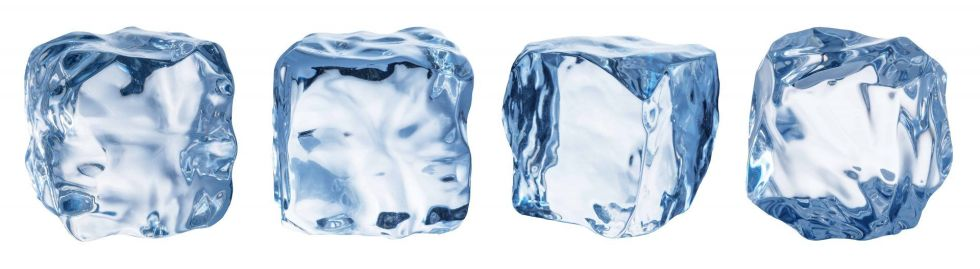 Set of four different ice cube faces.